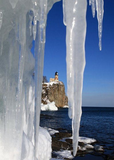 Split Rock Lighthouse through ice
