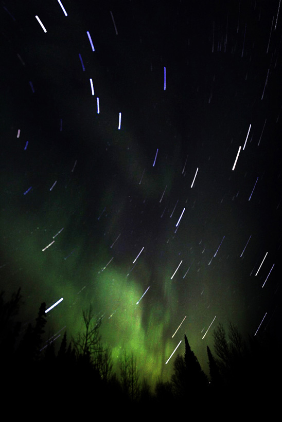 Northern Lights with Star Trails